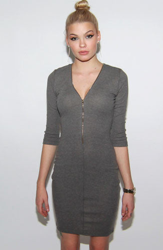 Plunge Zip Ribbed Bodycon Dress in Grey