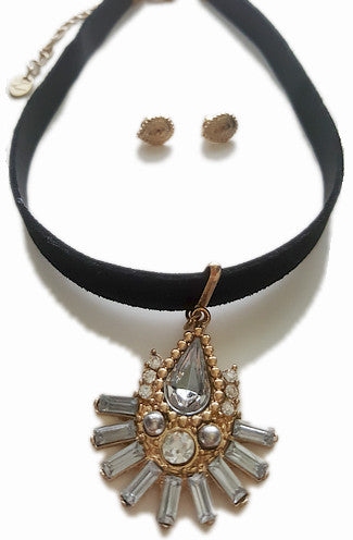 Rhinestone Hippie Faux Leather Choker