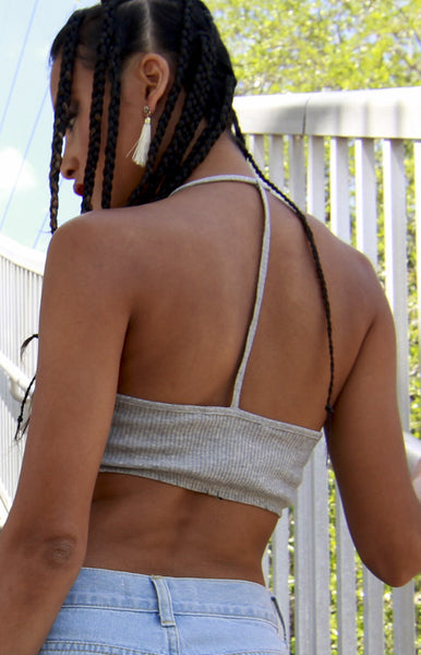 Rib Halter Cage Crop Tank in Heather Grey -Shot 2