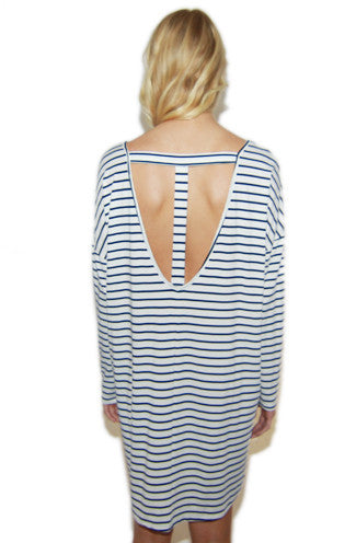 Sailor Stripe Shift Dress in Navy/White -Shot 2