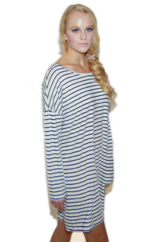 Sailor Stripe Shift Dress in Navy/White
