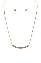 Single Ladies Pavestone Curved Necklace Set in Gold