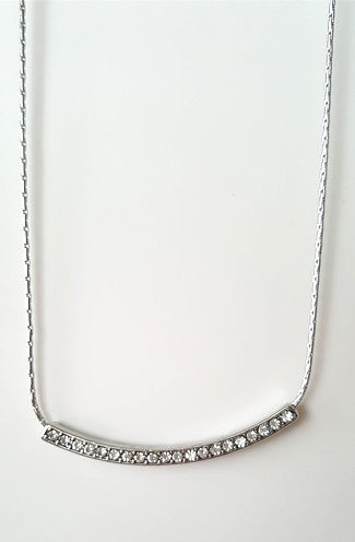 Single Ladies Pavestone Curved Necklace Set in Silver -Shot 2