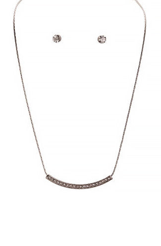 Single Ladies Pavestone Curved Necklace Set in Silver