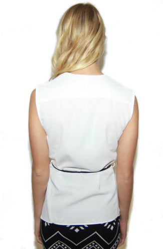 Sleeveless Asymmetrical Off-White Wrap Blouse w/ Tie -Shot 2