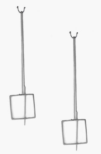 Square Cutout Threader Earrings in Silver