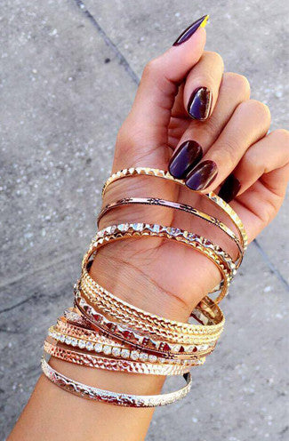 Three Metals Stacked Bangle Set- Set of 13
