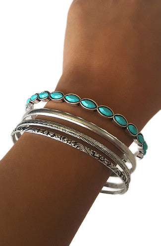 Turquoise Bohemian Silver Bangles- Set of 4 -Shot 2