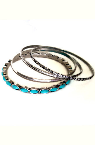 "alt=""turquoise-bohemian-silver-bangles-set-of-4"""