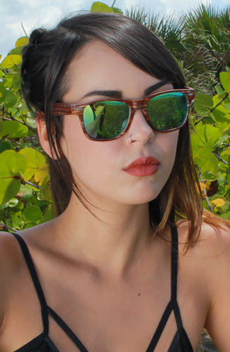 "alt=""unisex-faux-wood-wayfarer-yellow-and-green-mirrored-sunglasses"""