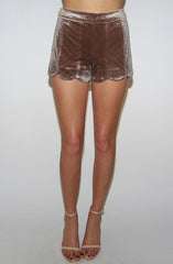 "alt=""velvet-scalloped-shorts-in-bronze-metallic-front"""