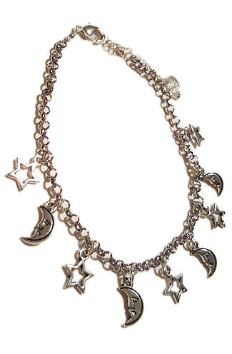 VidaKush Star and Moon Multi Charm Silver Anklet