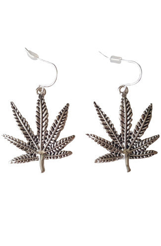 Weed Leaf Earrings in Silver