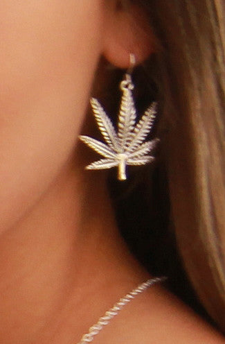 Weed Leaf Earrings in Silver -Shot 2