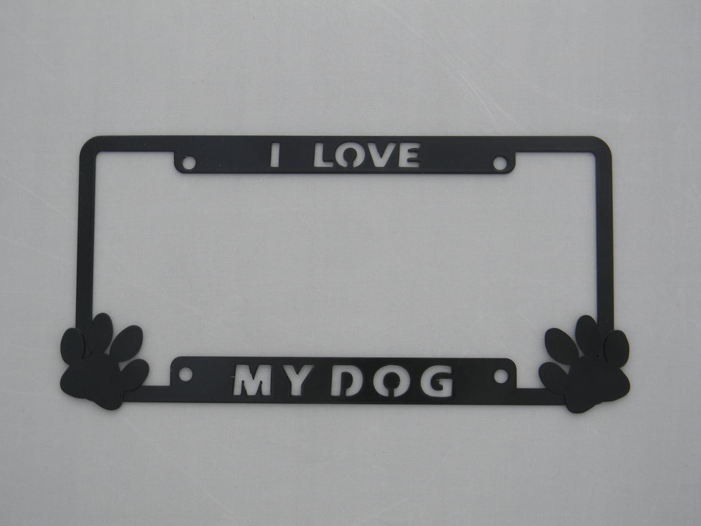 I love My Dog w/Paws License Plate Frame