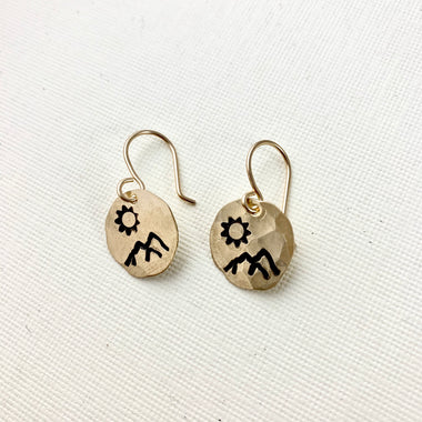 Dainty Stamped Sunny Mountain Earrings