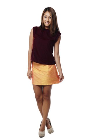 Shantung Silk Mini Skirt