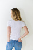 Super Soft Basic White V-Neck Tee with Subtle Details