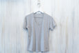 Super Soft Basic Heather Grey V-Neck Tee with Subtle Details