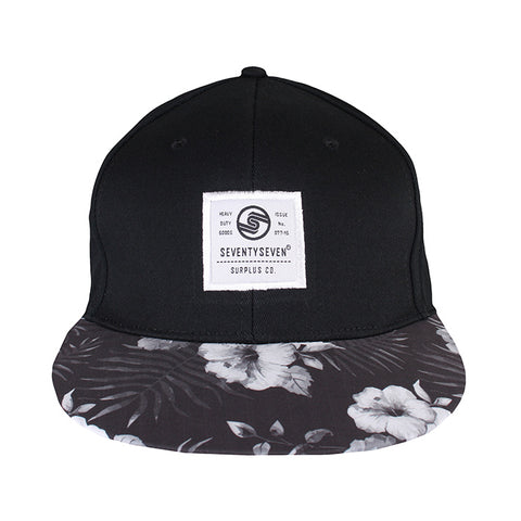 Graphic Snapback Cap - Black / Hawaiian