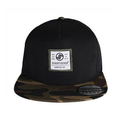 Camo Snapback Cap - Black / Jungle Camo