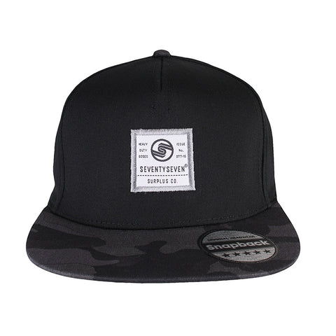 Camo Snapback Cap - Black / Midnight Camo