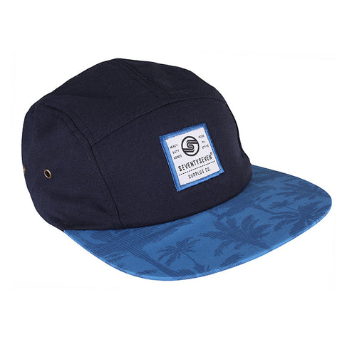Graphic 5 Panel Cap -  Navy / Palm