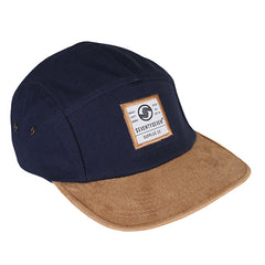 Suede Peak 5 Panel Cap -  Navy / Tan