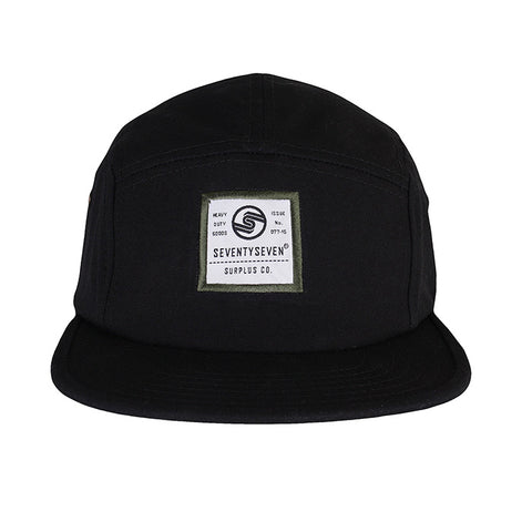 Canvas 5 Panel Cap -  Black