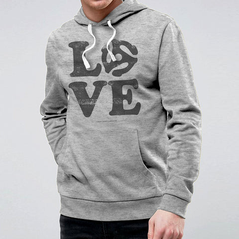 Love Vinyl Hooded Sweat - Grey Heather