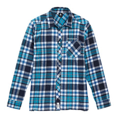 Flannel Long Sleeve Shirt - Turquoise / Navy
