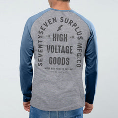 High Voltage Baseball t-shirt - Grey Heather / Blue