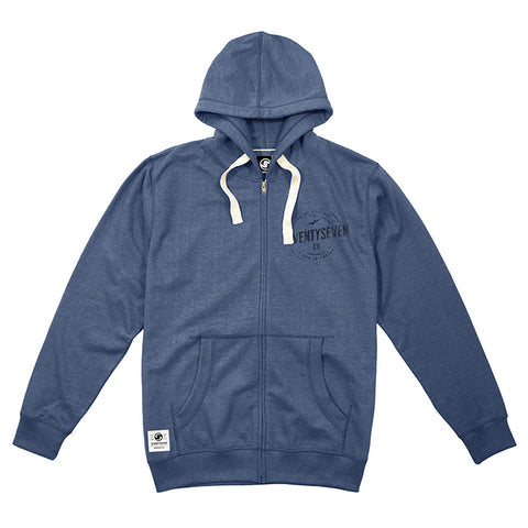 Genuine Zip Hooded Sweat - Denim Blue Heat