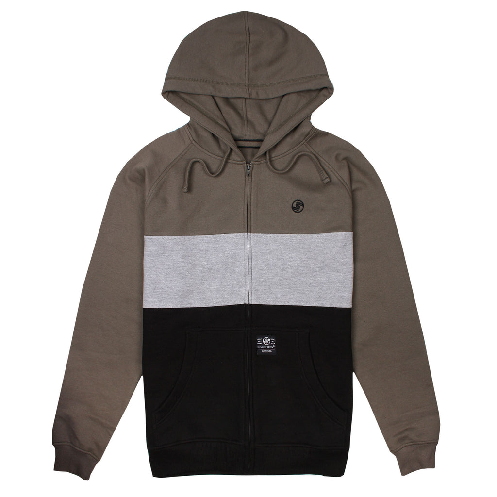 Tri-Band Full Zip Hoody - Dark Olive/Grey Heather/Black