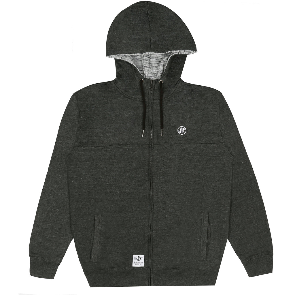 Logo Zip Hooded Sweat - Charcoal