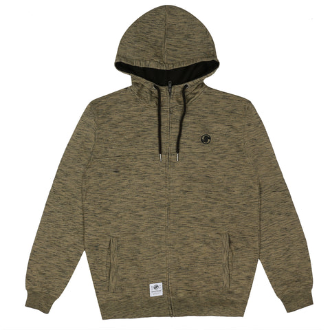 Logo Zip Hooded Sweat - Khaki