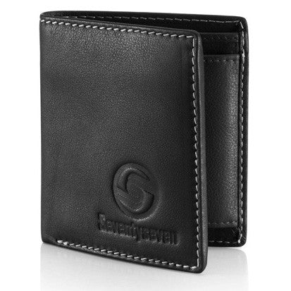Bi Fold Wallet - Black Leather