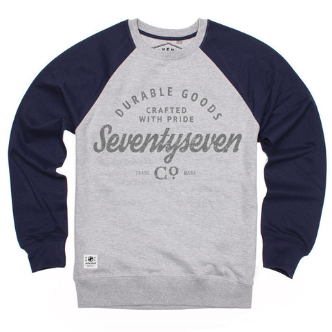 Durable Goods Contrast Sleeve Crew Sweat - Grey Heather/Navy