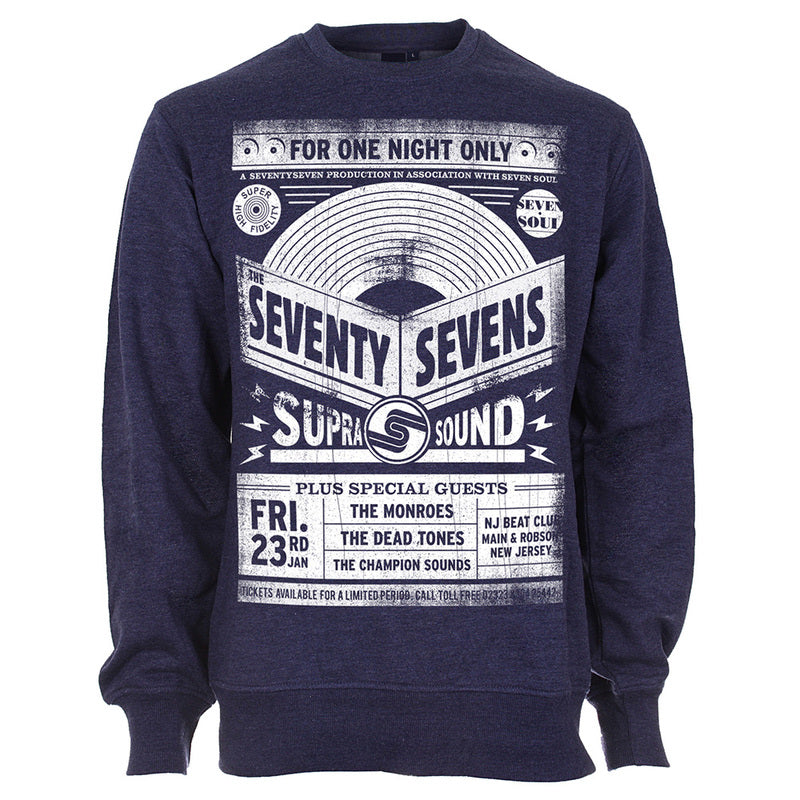 Gig Poster Crew Sweat - Heather Navy