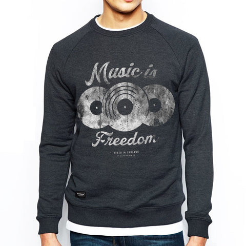 Music is Freedom Crew Sweat - Charcoal Heather