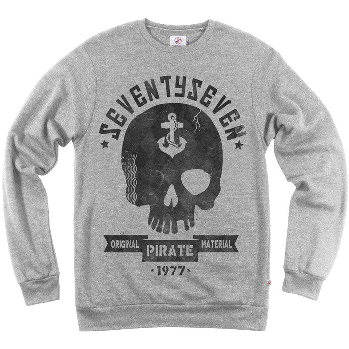 Seventyseven Pirate Radio Crew Sweat - Grey Heather
