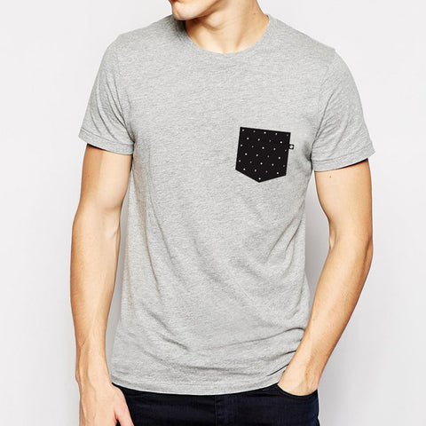 Polka Dot Pocket t-shirt - Grey Heather
