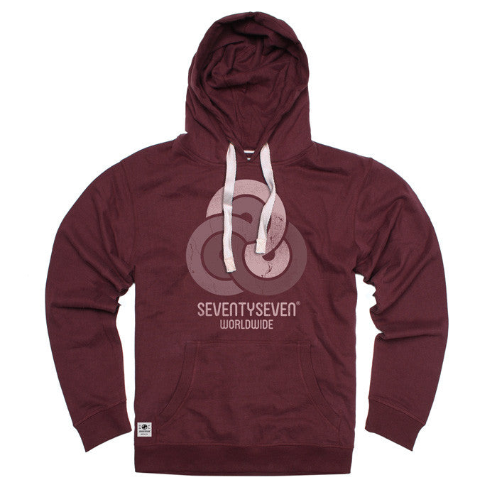 Retro Swirls Peached Hooded Sweat - Burgundy