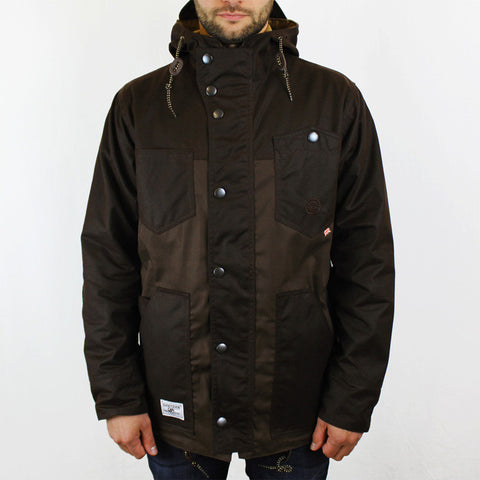 Roll Hood Parka Jacket - Brown/Wax