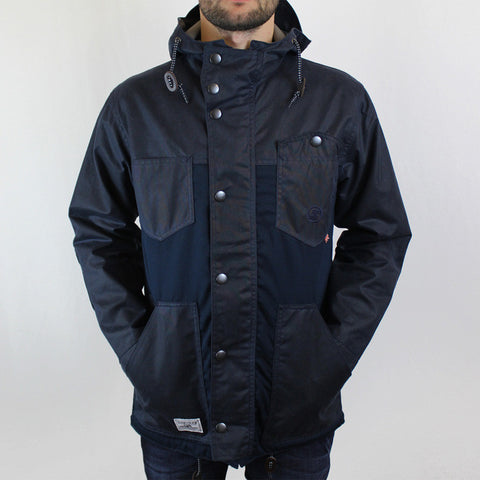 Roll Hood Parka Jacket - Navy/Wax