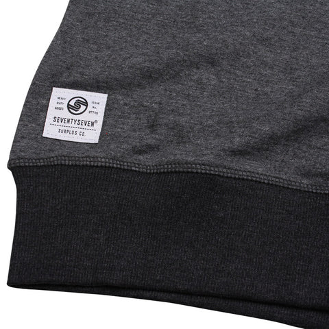 Union Made Contrast Rib Crew Sweat - Dark Heather