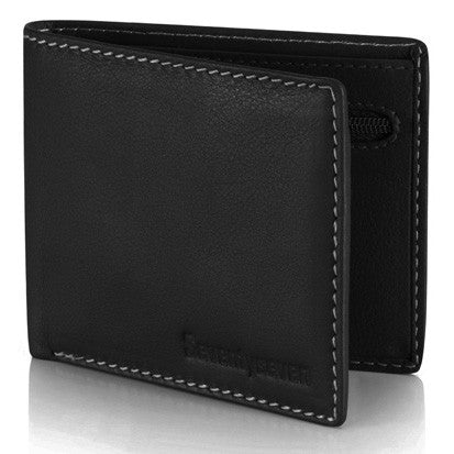 Seventyseven Zipper Wallet - Black Leather