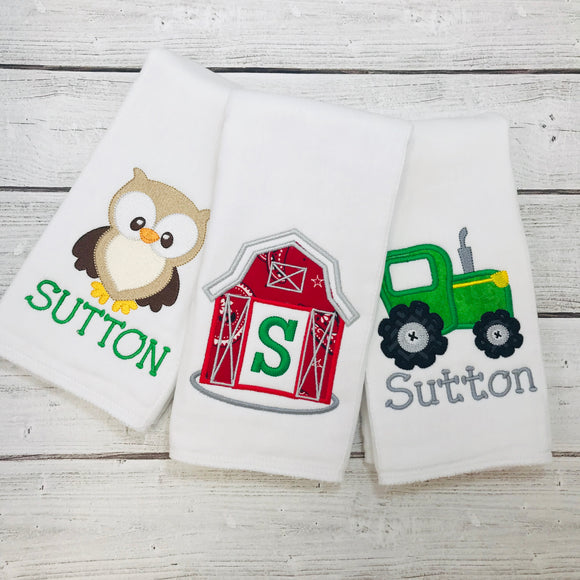 Personalized Farm Burp Cloth Set