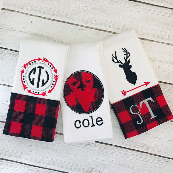 Red and Black Plaid Burp Cloth Set