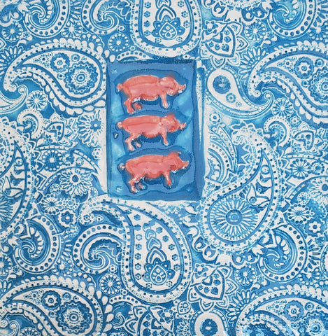 Three Little Pigs 4x4 Ceramic Tile